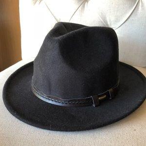 Vintage flat brim black hat